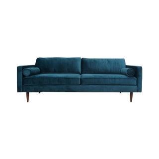 Mid Century Style Sofa in Teal Velvet