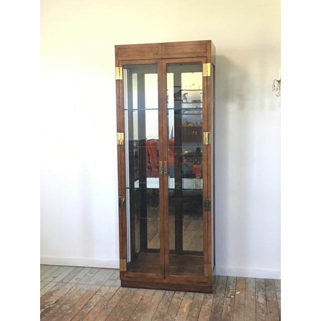 Image of Henredon Campaign Style Lighted Display Cabinet