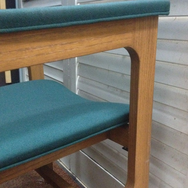 Teal Mid-Century Modern Arm Chairs - Set of 4 - Image 4 of 6
