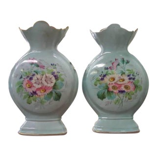 Antique French Napoleon III Floral Vases - A Pair