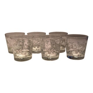 Vintage Butterfly Design Low Ball Glasses - Set of 6