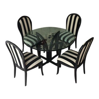 Modern Round Glass Top Table W/4 Chairs B/W