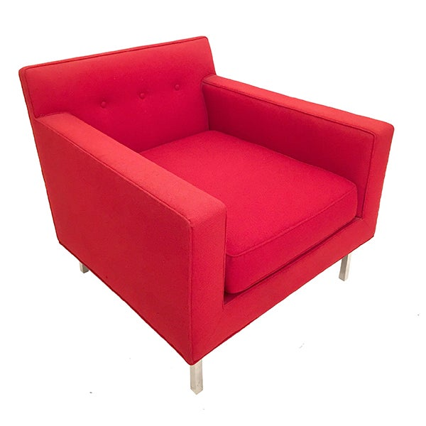 Upholstered Red Dunbar Arm Chair - Image 2 of 6