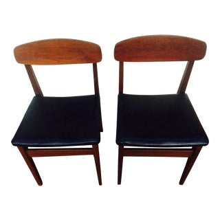 Mid-Century Leather Dining Chairs - A Pair