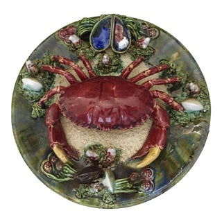 Majolica Palissy Crab Wall Plate