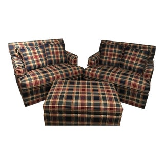 Ethan Allen Oversized Plaid Chairs and Ottoman Set - 3 Pieces