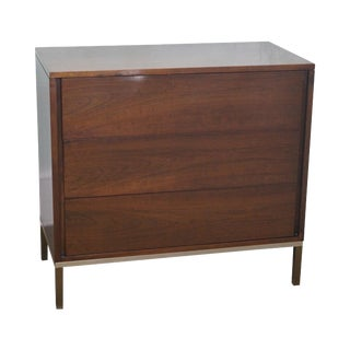 Mid-Century Walnut & Brass Chest of Drawers
