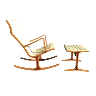 Tendo Mokko Heron Rocking Chair and Footrest for Kosuga Japan