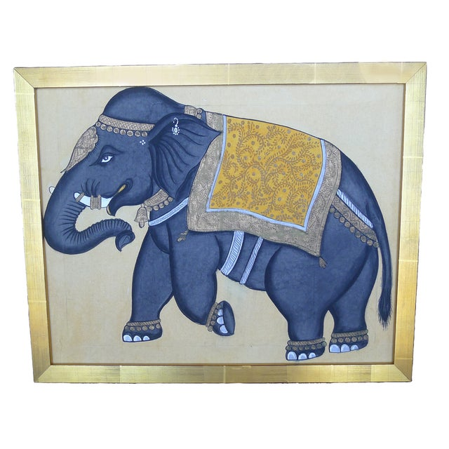 Framed Indian Elephant Painting - Image 1 of 4