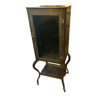 1930's Raw Steel Cabriole Leg Medical Cabinet
