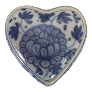 Vintage Asian Blue and White Ceramic Heart Shaped Trinket Box