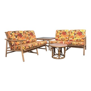 Ficks Reed Rattan Sofa and Table Suite - Set of 4