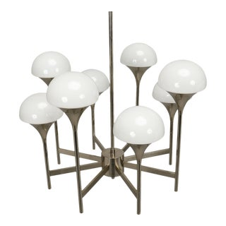 Italian Chrome and White Glass Eight Light Chandelier