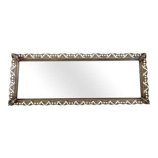 Silver Filigree Antique Mirrored Tray