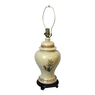 Tan Floral Ceramic Lamp