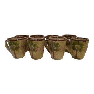 Hand Painted Bora Bora Tiki Palm Tree Tropical Mugs - Set 8