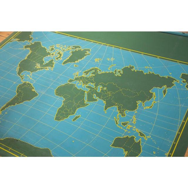 Mid Century Chalkboard World Pull Down Map Chairish