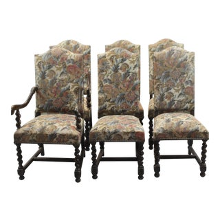 French Tapestry Upholstered Dining Chairs- Set of 6