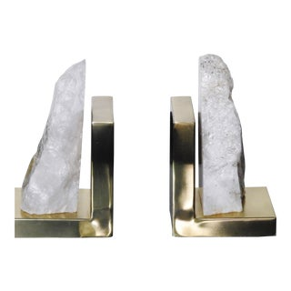 Brass & Crystalline Stone Bookends - A Pair