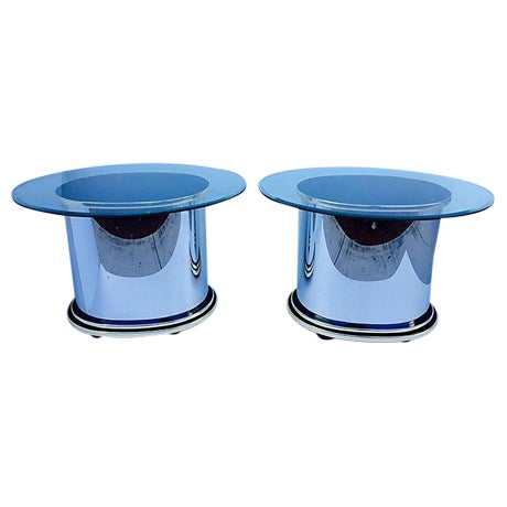 Mid-Century Glass & Steel Side Tables - A Pair - Image 1 of 4