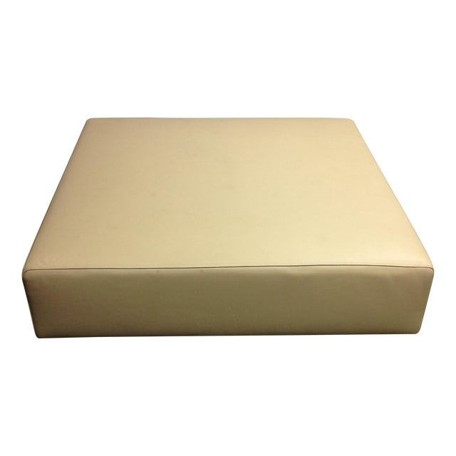 Cream Leather Ottoman by Living Divani - Image 1 of 6