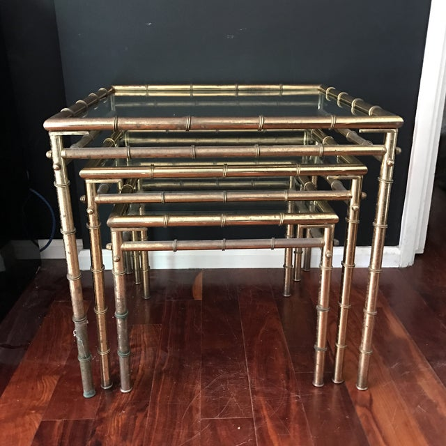 Vintage Faux Bamboo Brass Nesting Tables - Set of 3 - Image 2 of 9
