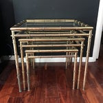Image of Vintage Faux Bamboo Brass Nesting Tables - Set of 3