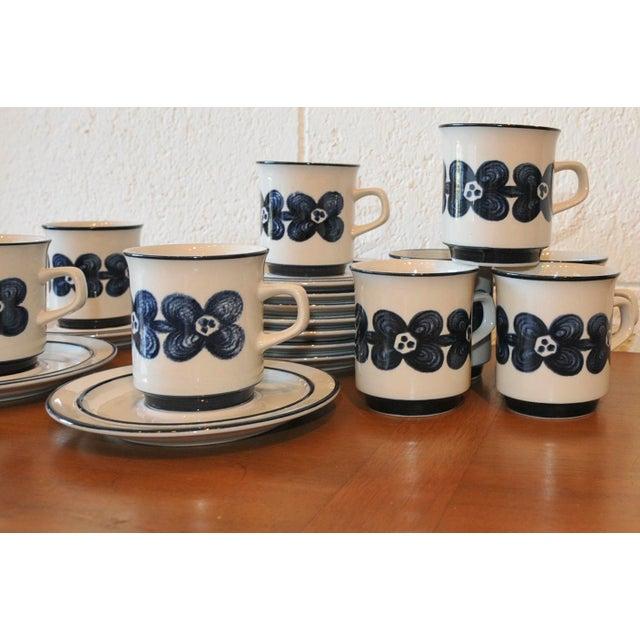 Mid-Century Design Four Cobalt Mugs & Saucers - 10 - Image 5 of 9