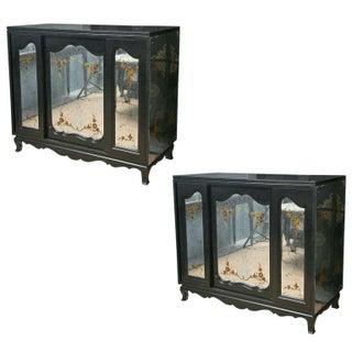 John Stuart Eglomise Commode Cabinets - A Pair