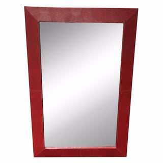Red Faux Leather Frame Mirror