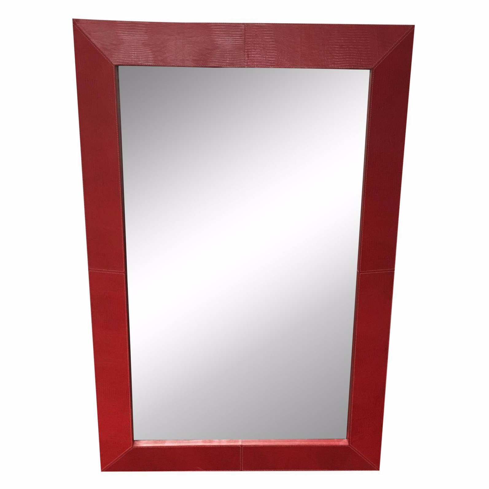 Red Faux Leather Frame Mirror : Chairish
