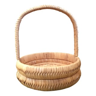 Handwoven Round Basket with Handle