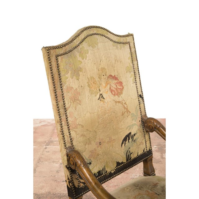 Antique Louis XIII Tapestry Armchairs - A Pair - Image 5 of 10