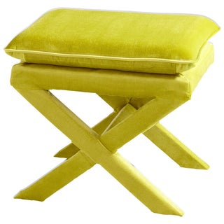 Upholstered X-Bench - Lime Green