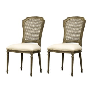 Spectra Home Carved French Linen Dining Chairs - A Pair