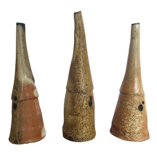Abstract Studio Pottery Cone Sculptures - Set of 3