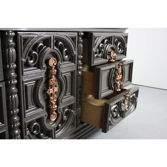 Hollywood Regency Gray & Bronze Dresser - Image 5 of 9