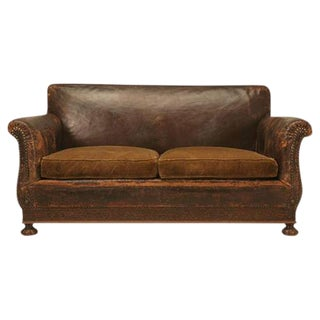 French Leather Club Chair & Sofa Suite, Circa 1930s - Set of 3