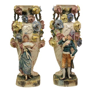 French Majolica Floral Porcelain Vases - A Pair