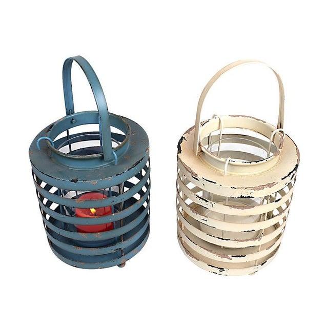 Image of Rustic Metal Lantern Candle Holders - Set of 2