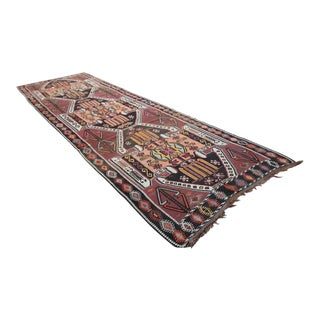 Turkish Tribal Kars Oushak Handmade Flatwoven Kilim Rug - 4′ × 13′5″