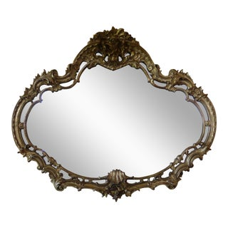 French Provincial Rococo Gold Ornate Wall Mantle Mirror