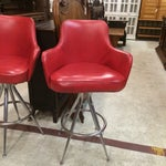 Image of Vintage 1970s Red Bar Stools - Pair