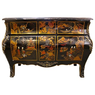 French Lacquered Chinoiserie Commode with Bronze Mounts and Marble Top