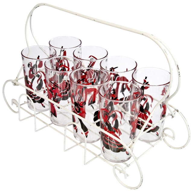 Eight Flamenco Dancer Glasses With Carrier - Image 2 of 3