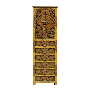 Chinese Tibetan Dragon Slim Multi Drawer Cabinet