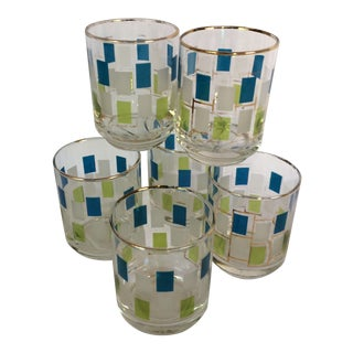 Vintage Blue & Green Shot or Juice Glasses - Set of 6