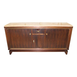 Beautiful French Art Deco Macassar Ebony Sideboard or Buffet By Maurice Rinck Marble top, Circa 1940s