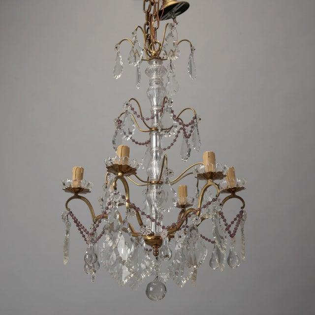 Italian 6-Arm Crystal Chandelier w/ Amethyst Beads - Image 2 of 6