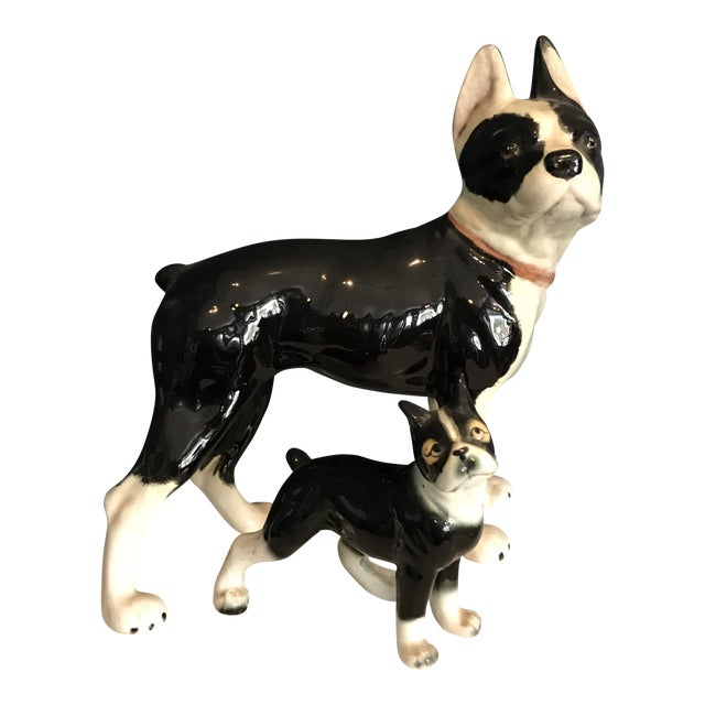 Image of Vintage Ceramic Boston Terriers - A Pair